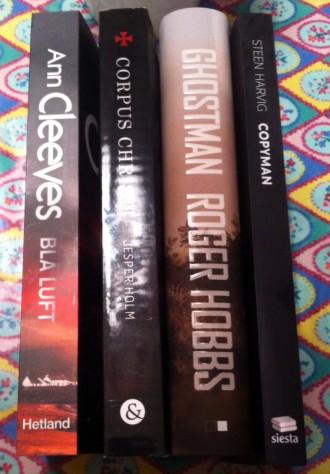 Blå luft, Corpus Christi, Ghostman og Copyman er titlerne på fire nye krimier fra små, danske forlag.