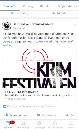 En opdatering på Facebook er skyld i, at min kødsovs brændte på. Der er i disse dage krimifestival i Oslo. Foto: Rebekka Andreasen